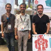 Julien Dixneuf, gérant de la société Olympecom, Charles Brondin, infographiste 3D et programmateur, David Cragné, gérant de l'agence Creasynth